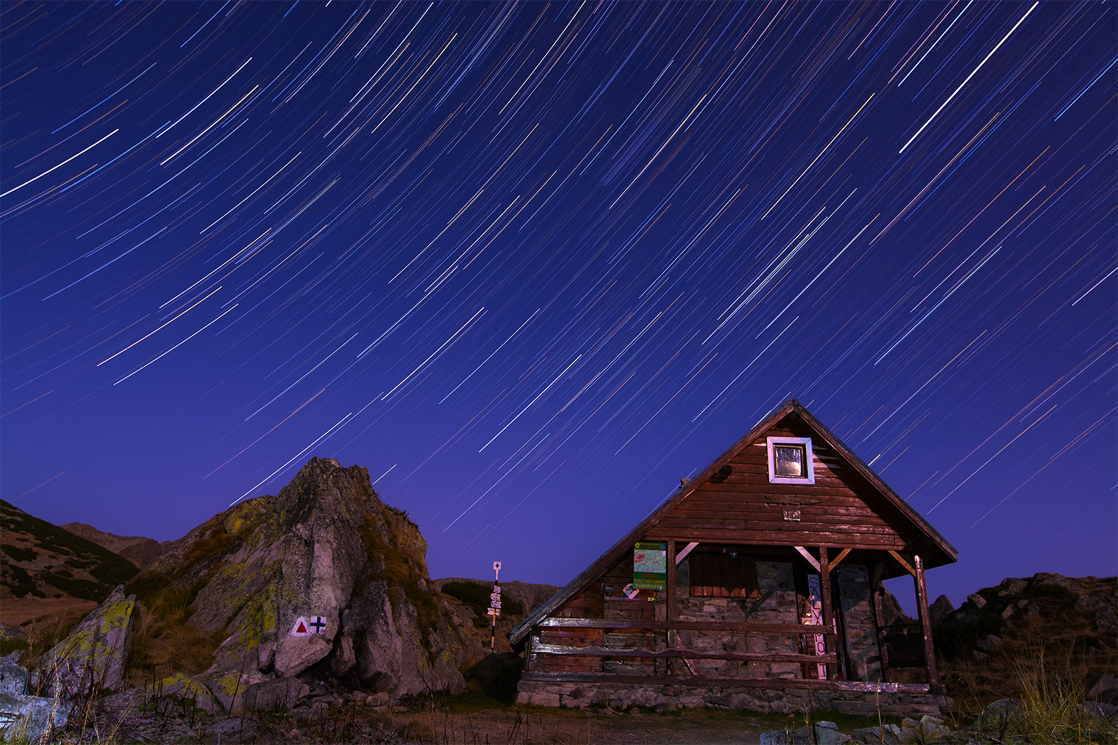 Star trails above Zanoaga lake